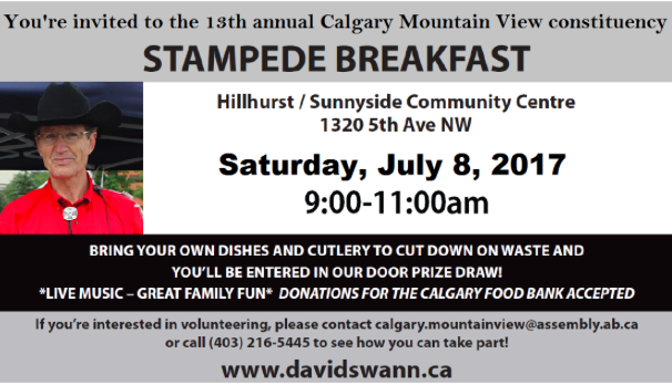 13th Annual Calgary Mountain View Constituency Stampede Breakfast